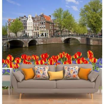 Vlies fotobehang Amsterdamse brug