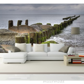 Vlies fotobehang pier in zee