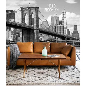 Vlies fotobehang Brooklyn Bridge Zwart Wit met tekst