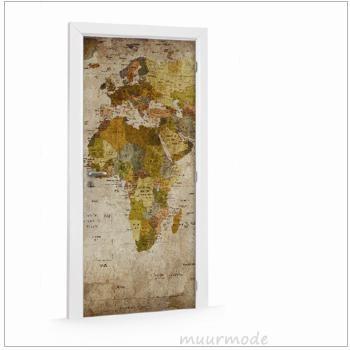 Deursticker Wereldkaart