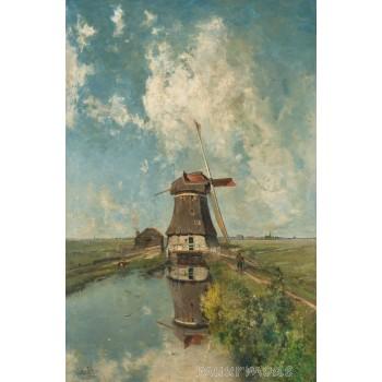Canvas schilderij Een molen aan een poldervaart