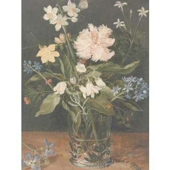 Canvas schilderij Stilleven met bloemen in een glas