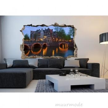 3D Muursticker Grachten in Amsterdam