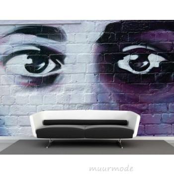Vlies fotobehang graffiti ogen