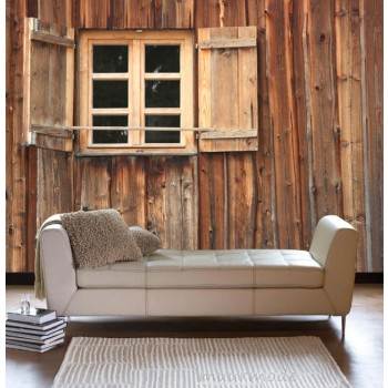 Raam in houten huisje
