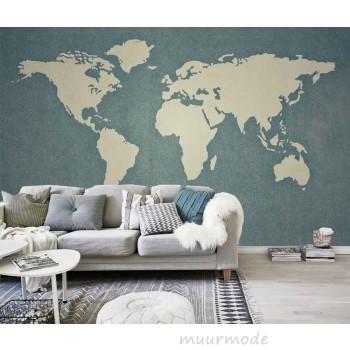 Fotobehang met wereldse afbeeldingen voor bijvoorbeeld de woonkamer