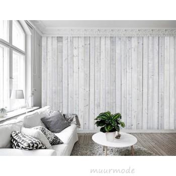 Vlies fotobehang Wit houten muur