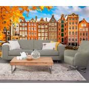 Vlies fotobehang Amsterdamse huisjes