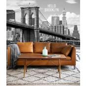 Vlies fotobehang Brooklyn Bridge Zwart Wit met tekst
