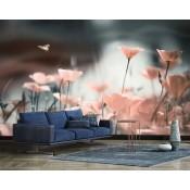 Vlies fotobehang Roze klaprozen in het zonlicht