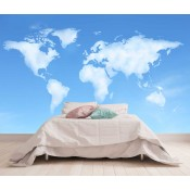 Vlies fotobehang Wereldkaart Wolken
