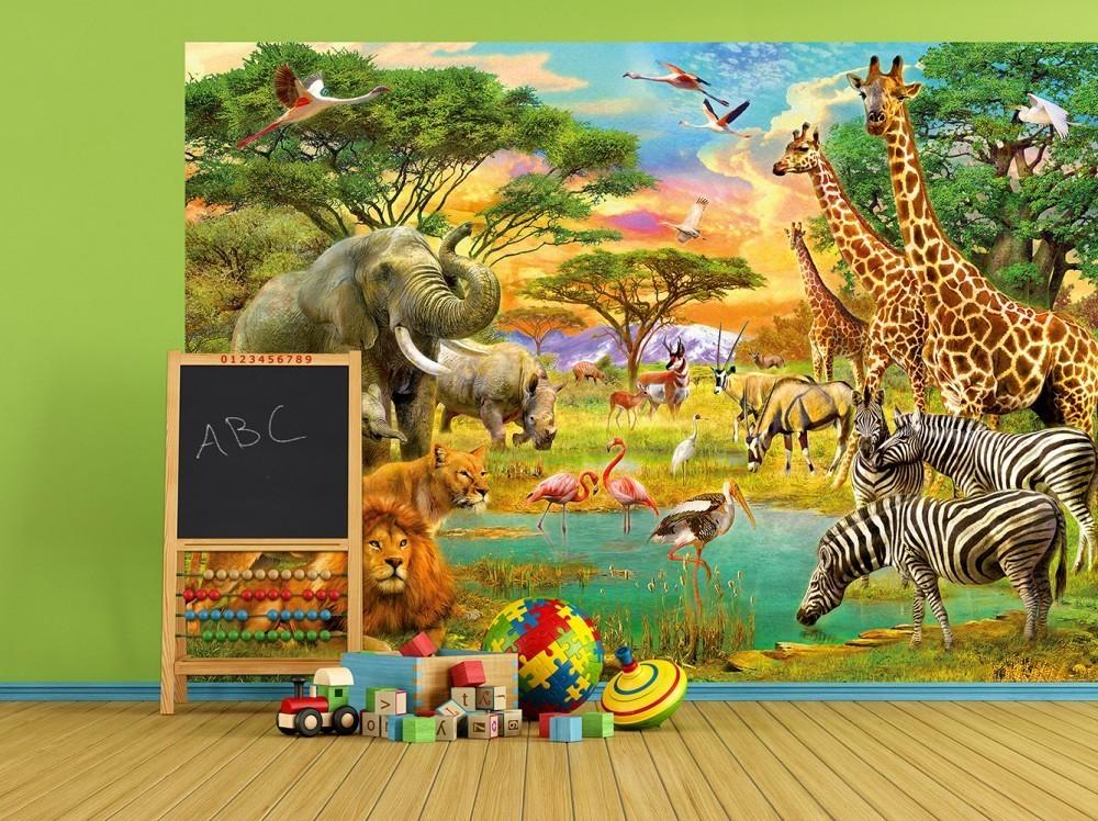 Behang Kinderkamer Zebra : Kinder fotobehang african animals behang kinderkamer en babykamer