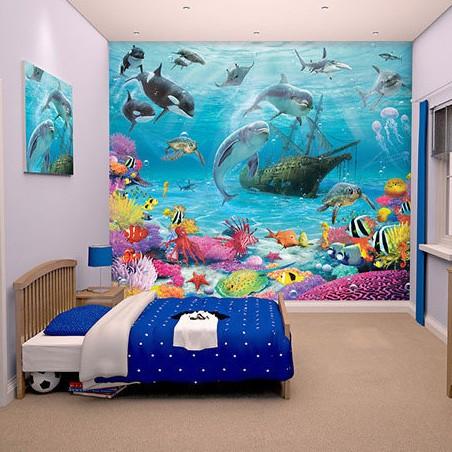 Fotobehang onderwaterkamer