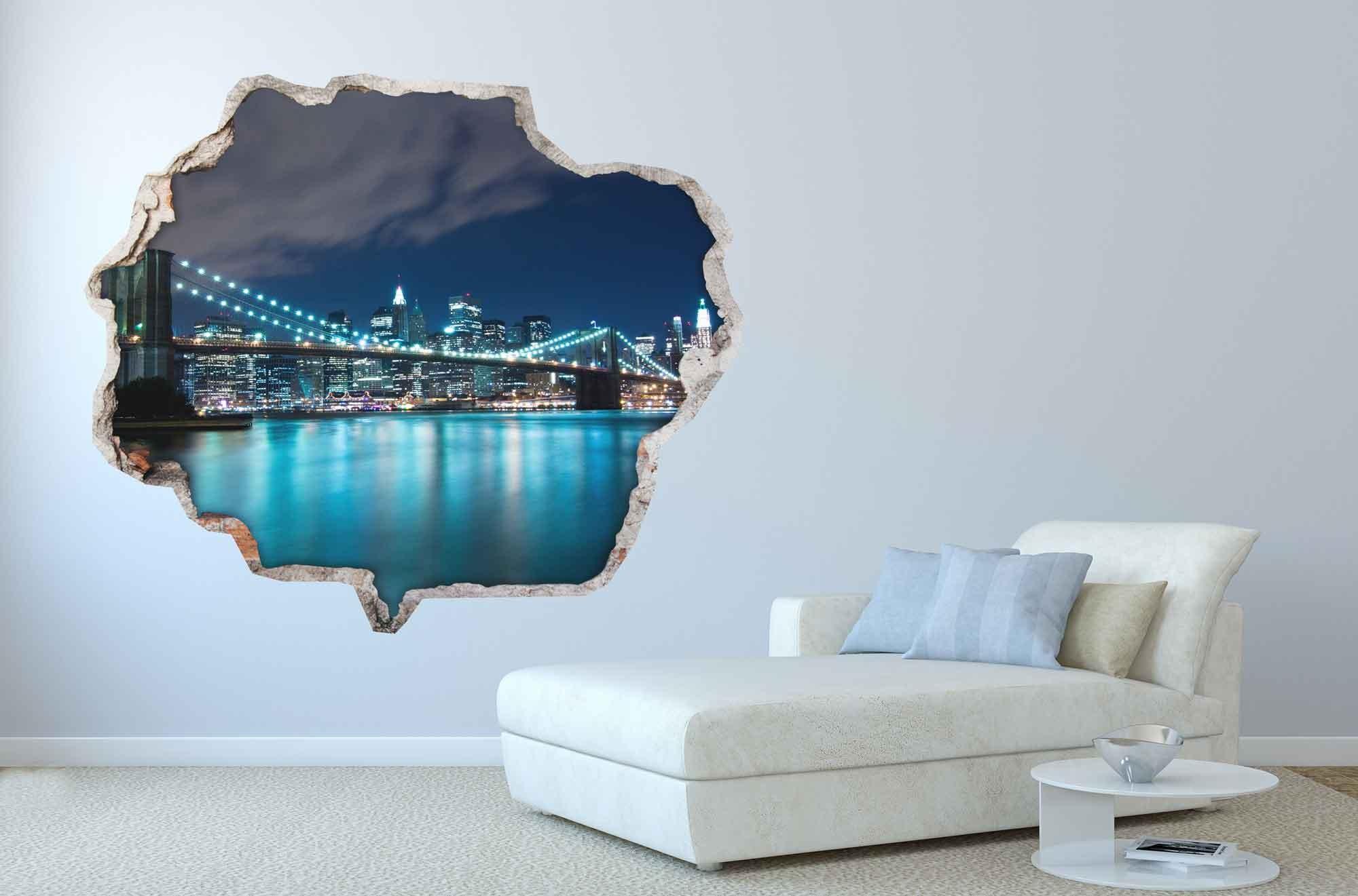 3D Muursticker Brooklyn Bridge bij nacht