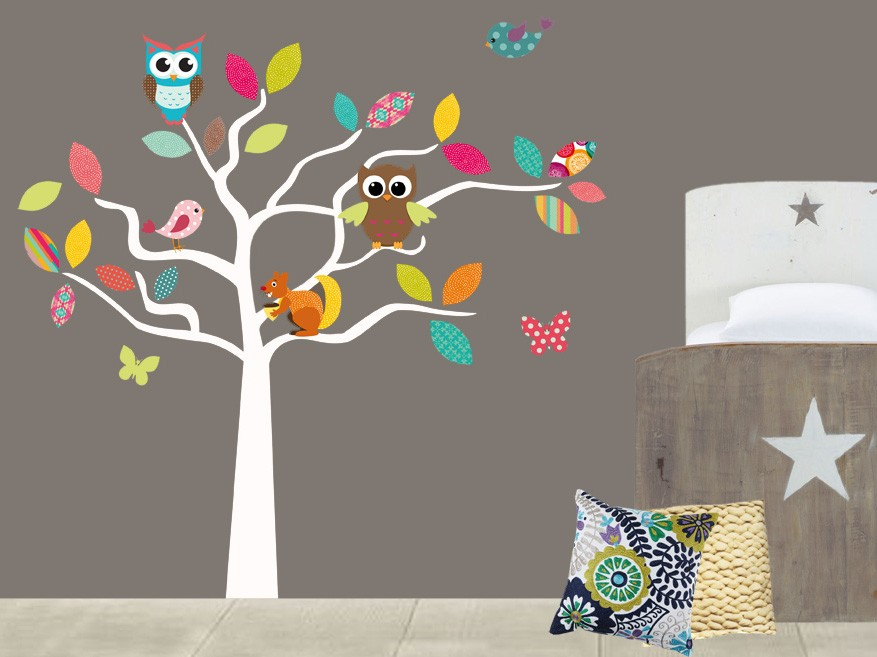 Muursticker lapjesboom met uiltjes