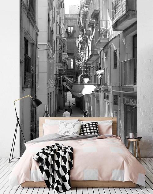 Fotobehang straat Barcelona zwart wit