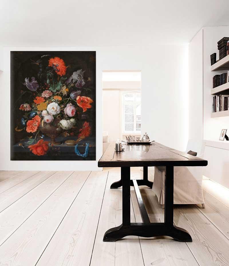 Vlies fotobehang Stilleven met bloemen en een horloge