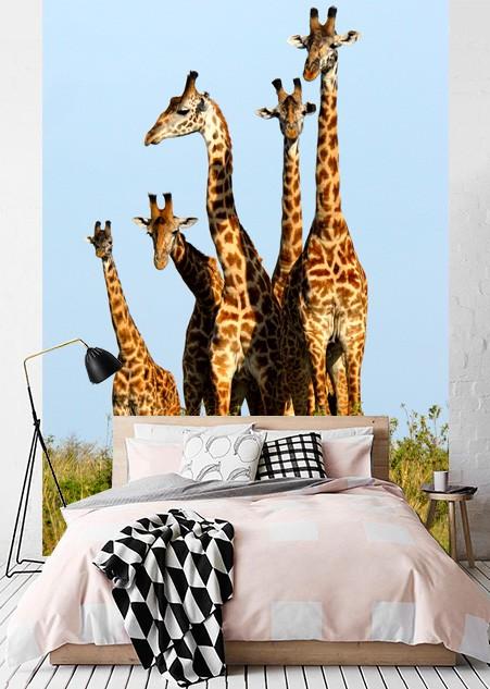 vlies fotobehang giraffenfamilie dieren behang muurmodenl