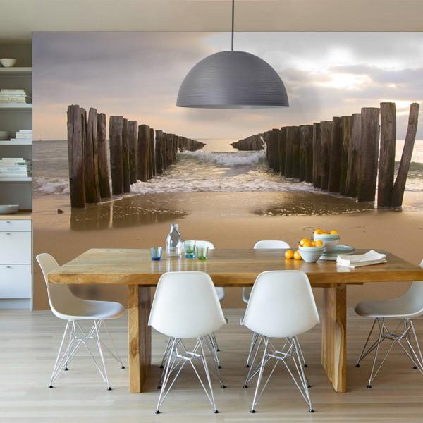 fotobehang met de zee en het strand