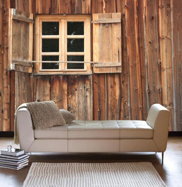 Vlies fotobehang houten venster for Industrieel behang