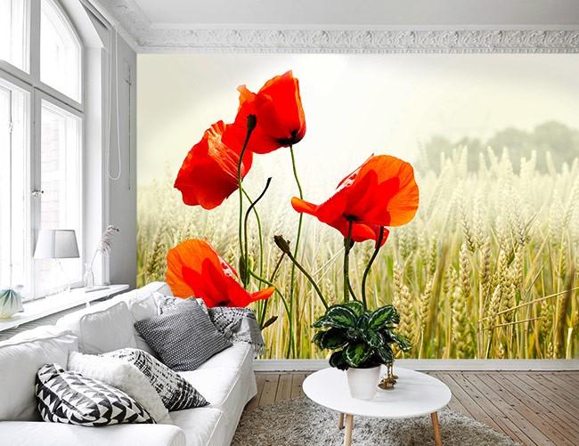 Vlies fotobehang Veldbloemen in graanveld