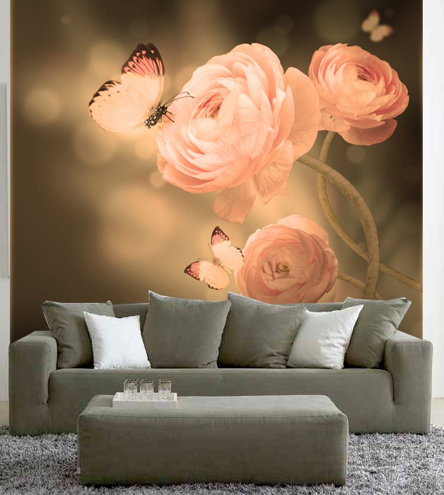 Fotobehang rozen met vlinders