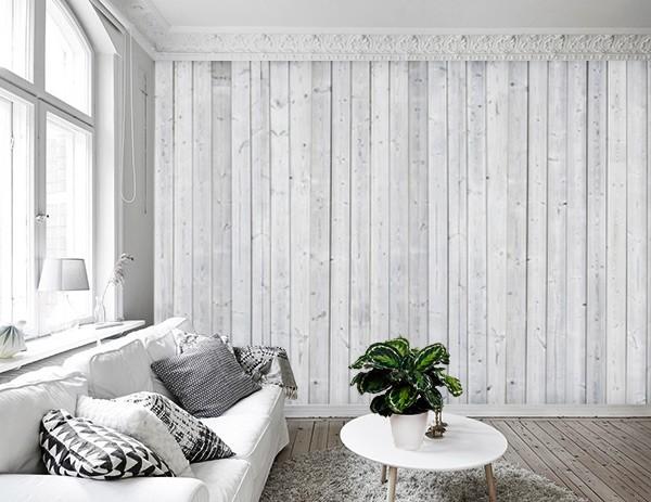 Vlies fotobehang wit houten muur - Deco woonkamer aan de muur wit ...