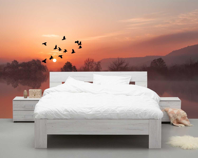 Vlies fotobehang Vliegende vogels met zonsondergang
