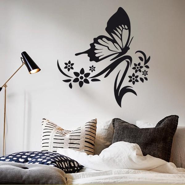 Muursticker vlinder met versieringen