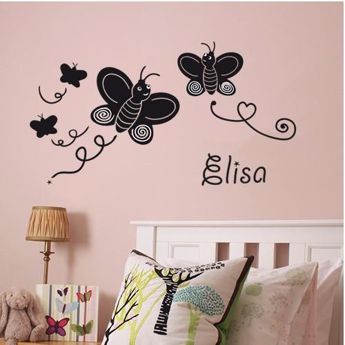 Sticker Vlinders met eigen naam