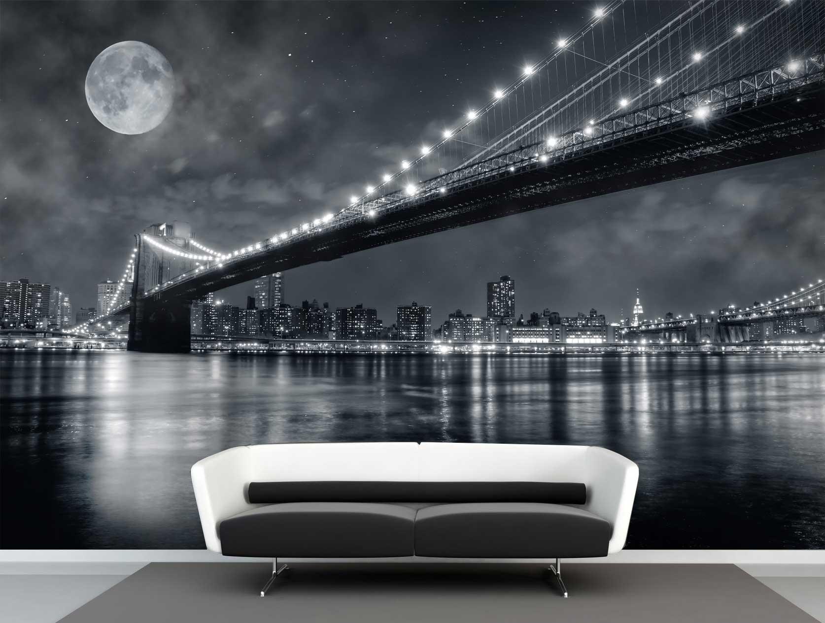 Vlies fotobehang Full moon Brooklyn bridge   Muurmode nl