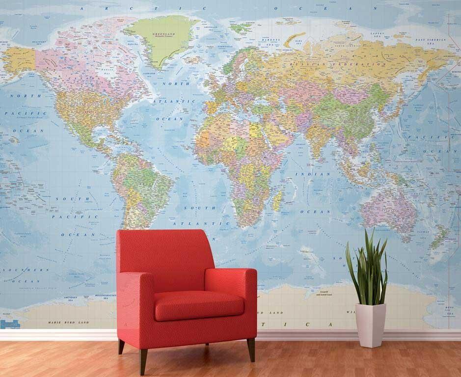 Top Geef je kamer een nieuwe look met een wereldkaart behang! SD07