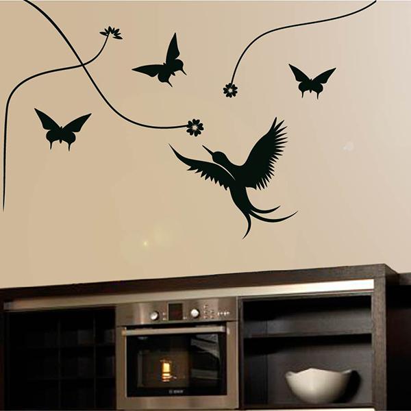 Interieursticker Lianen met vogels