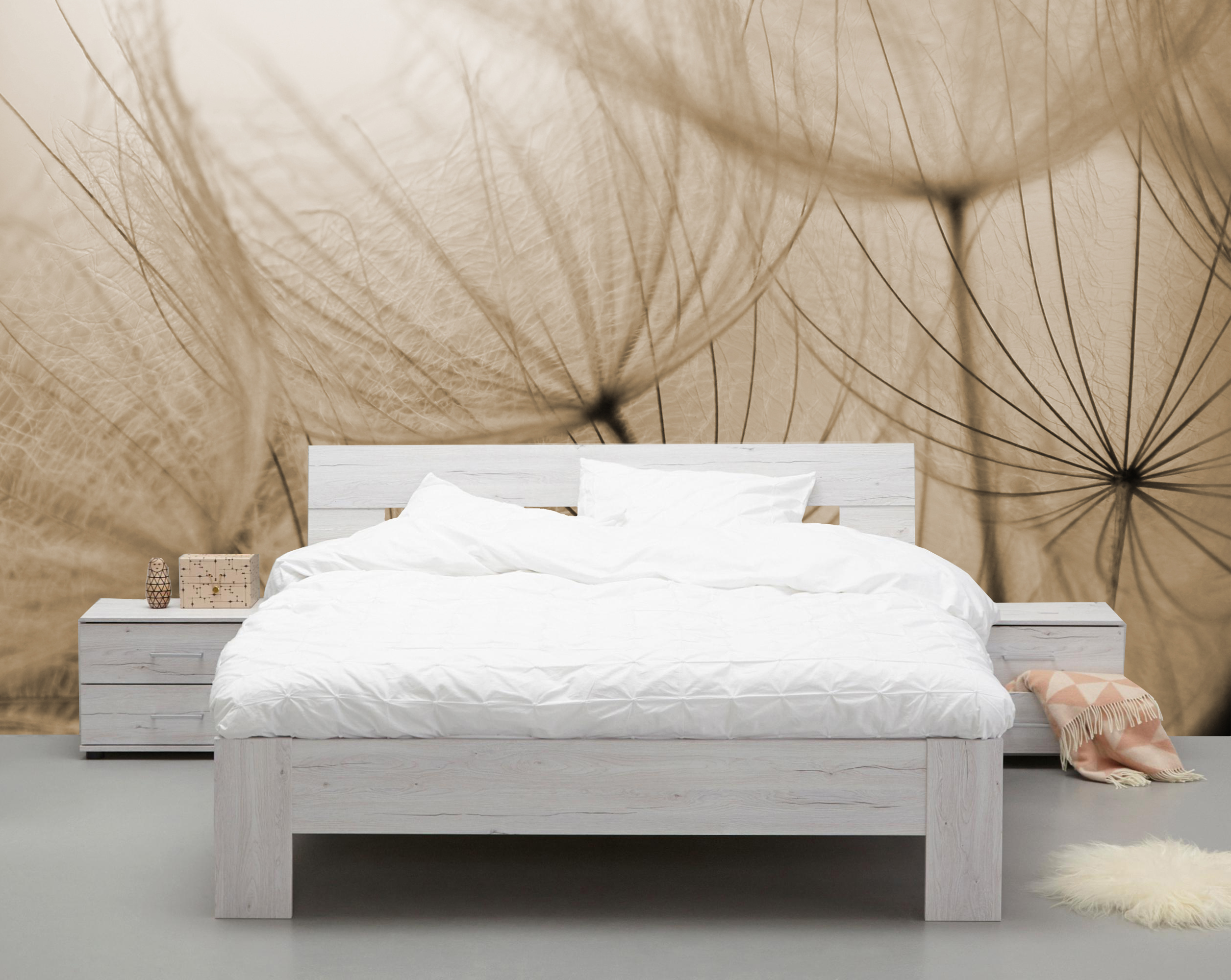 Vlies fotobehang Dandelions Sepia