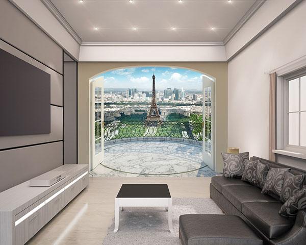 Haal de stad van de liefde in huis met dit fotobehang van een uitzicht op parijs. het 3d effect van het ...
