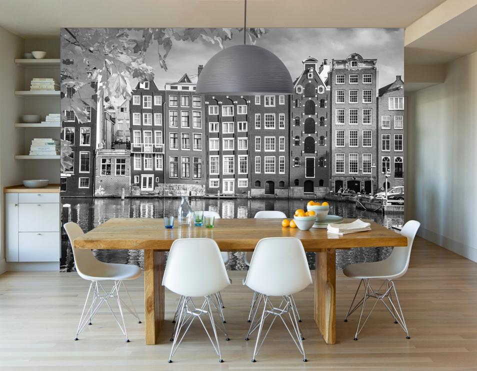 Vlies fotobehang Amsterdamse huisjes zwart wit