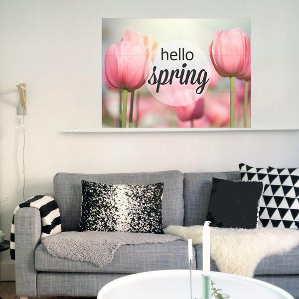 Hello Spring Foto en tekst op hout