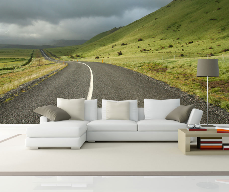 Vlies fotobehang On the road in IJsland