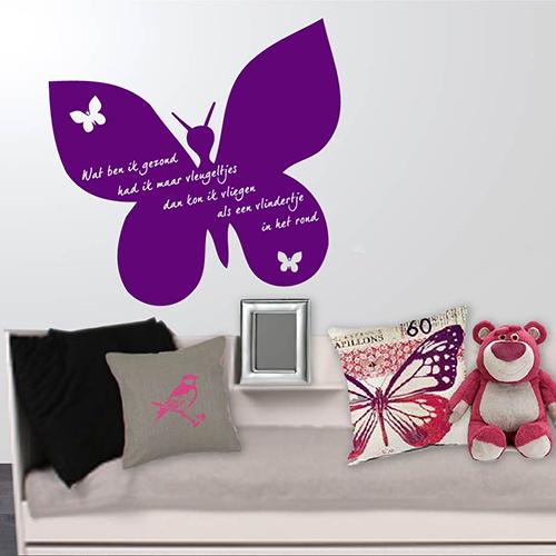 Interieursticker Vlinder met tekst