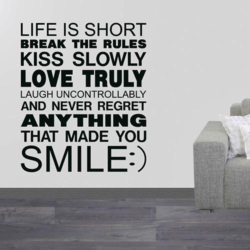 Muursticker Life is short, Smile