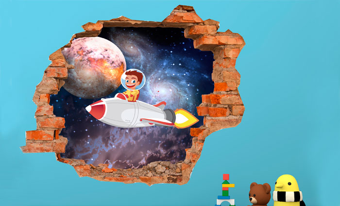 3D Kinder muursticker Ruimtevaart