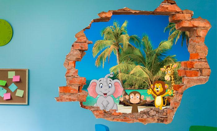 3D Kinder muursticker Op het strand