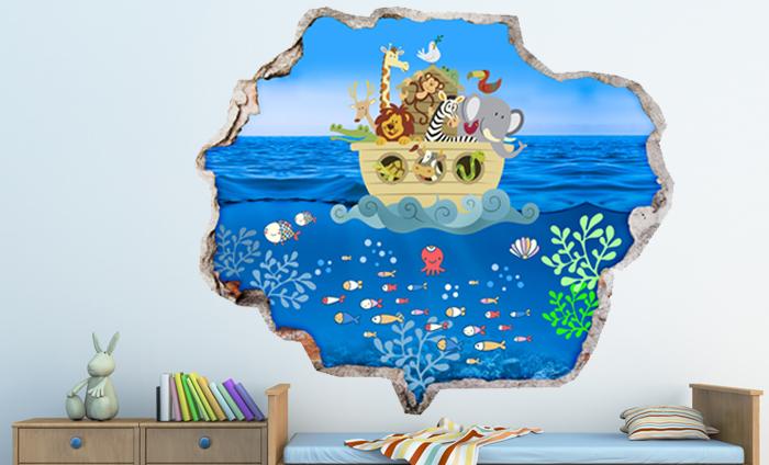 3D Kinder muursticker Op het water