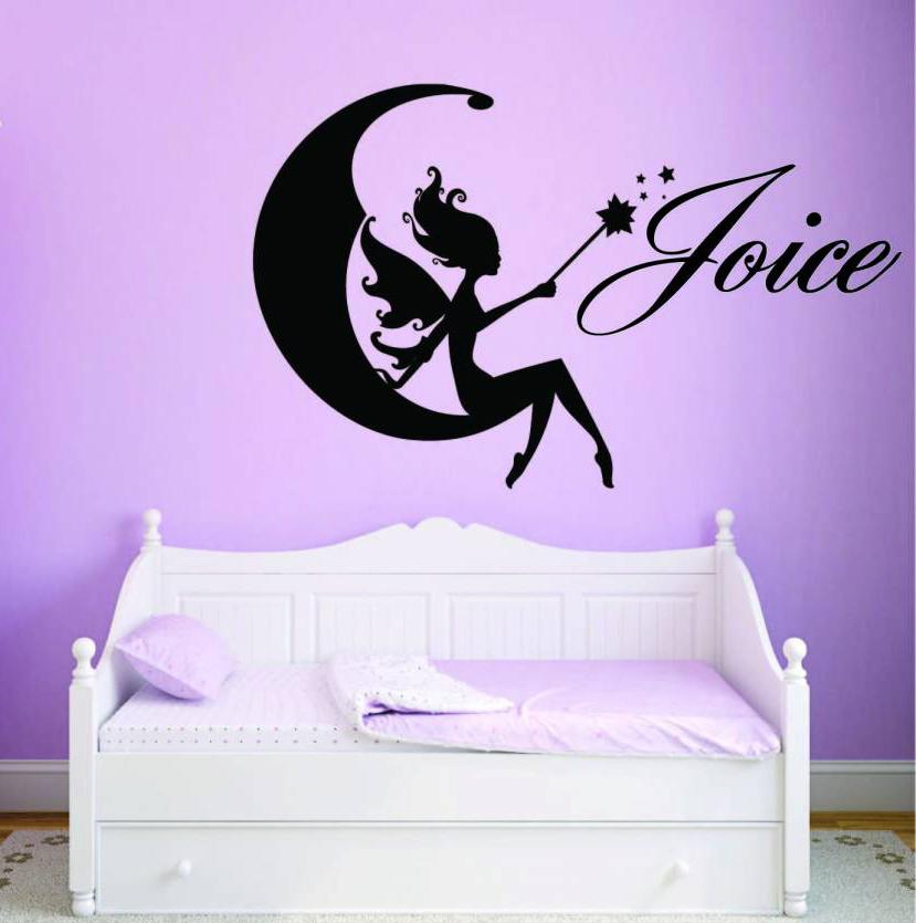 Naamsticker Fairy op de maan