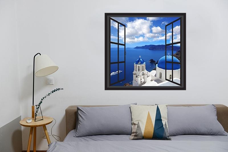 3D Raam Muursticker Santorini