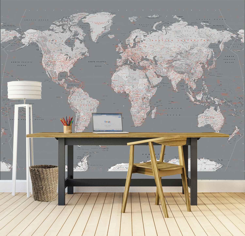 Fotobehang Silver World Map groot