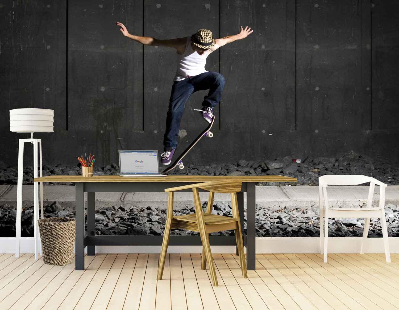 Vlies fotobehang Skateboard stunts