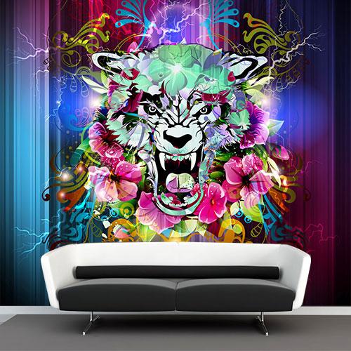 muurdecoratie online vlies fotobehang graffiti tijger