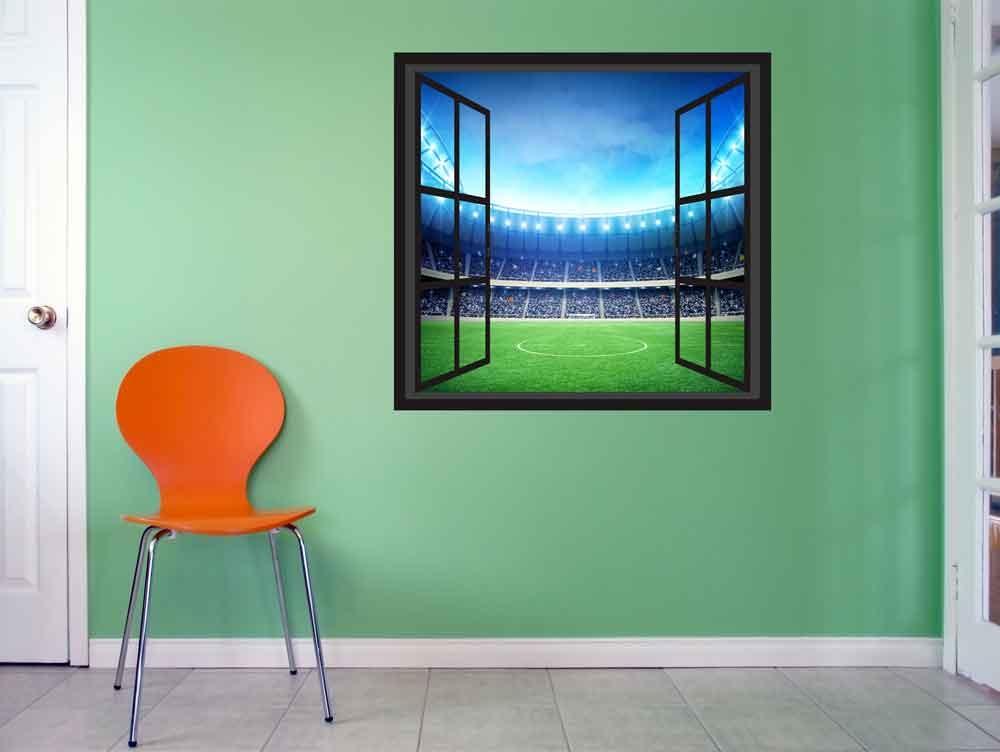 3D Raam Muursticker Voetbalstadion