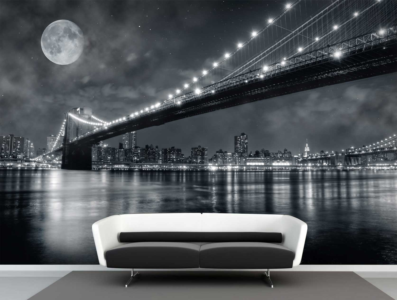 Vlies fotobehang Full moon Brooklyn bridge